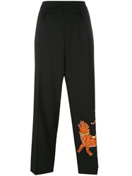 Gucci Embroidered Tiger Trousers Black