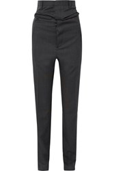 Y Project Wool Twill Tapered Pants Black