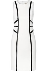 Michael Kors Collection Leather Trimmed Wool Blend Crepe Dress White