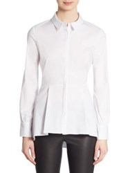 Saks Fifth Avenue Hidden Placket Long Sleeve Peplum Shirt White