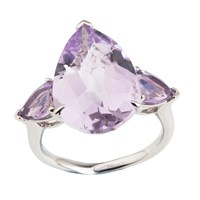 Emily Mortimer Jewellery Aqua Amethyst Pear Ring Silver Pink Purple