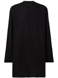 Helmut Lang Mandarin Neck Oversized Shirt Black