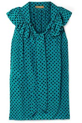 Michael Kors Collection Pussy Bow Ruffled Polka Dot Silk Crepe Blouse Turquoise