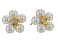 Majorica 7Mm Round Pearl Cz Gold Earrings White Earring