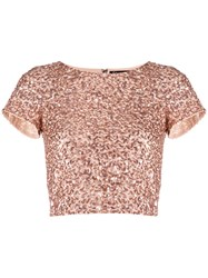 Alice Olivia Sequin Cropped T Shirt Pink