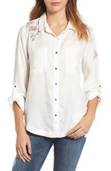 Billy T Women's Embroidered Chambray Shirt White