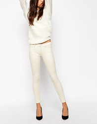 7 For All Mankind Leather Look Skinny Jean Trousers White