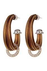 Alor 18K Gold And Diamond Stainless Steel Cable Hoop Earrings 0.36 Ctw Yellow