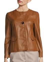 Piazza Sempione One Button Leather Jacket Cognac