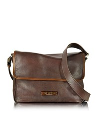 The Bridge Plume Mix Uomo Dark Brown Leather Messenger Bag Caramel
