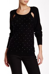 Tracy Reese Sparkle Embellished Cutout Pullover Black