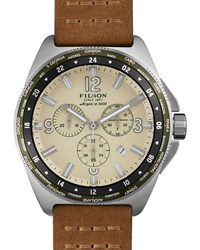 44Mm Journeyman Chrono Watch With Leather Strap Brown Cream Filson Ivory