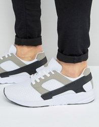 Asos Trainers In White With Black Rubber Panels White