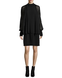 3.1 Phillip Lim Silk Dolman Sleeve Layered Dress Black