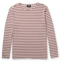 A.P.C. Joey Slim Fit Striped Organic Cotton Jersey T Shirt Red