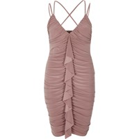 River Island Light Pink Ruched Frill Front Bodycon Dress