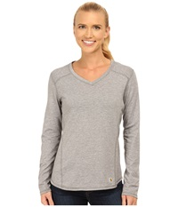 Carhartt Force Long Sleeve V Neck T Shirt Asphalt Heather Women's Long Sleeve Pullover Gray