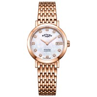 Rotary Lb05304 41 D 'S Windsor Diamond Date Bracelet Strap Watch Rose Gold