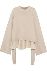 Tibi Silk Paneled Cashmere Sweater Cream