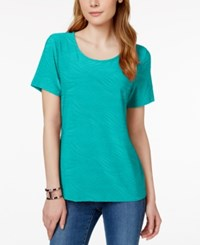 Jm Collection Jacquard Short Sleeve Top Only At Macy's Urban Aqua