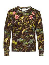 Gucci Tropical Print Floral Applique Cotton Sweatshirt Green Multi