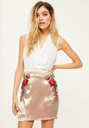 Missguided Pink High Shine Satin Embroidered Mini Skirt