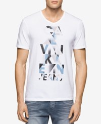 Calvin Klein Jeans Men's V Neck Pyramid Logo Graphic T Shirt White