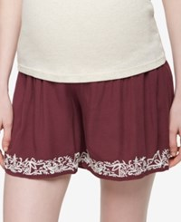 A Pea In The Pod Maternity Embroidered Shorts Dusty Plum