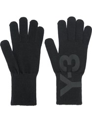 Y 3 Logo Print Gloves Black