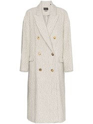 Isabel Marant Habra Alpaca Wool Double Breasted Coat Neutrals