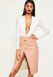 Missguided Pink Wrap Over Buckle Detail Faux Leather Midi Skirt