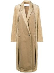 Chalayan Cut Away Corduroy Coat Nude And Neutrals