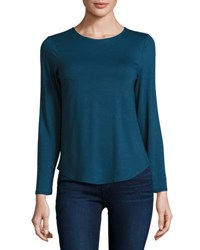 Neiman Marcus Basic Crewneck Long Sleeve Tee Steely Blu