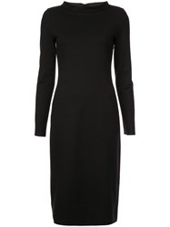 Emporio Armani Boat Neck Midi Dress Black