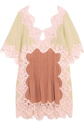 Chloe Macrame Lace Trimmed Silk Crepe De Chine Mini Dress Antique Rose