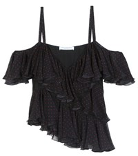 Philosophy Di Lorenzo Serafini Ruffled Polka Dot Silk Chiffon Top Black