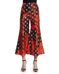 Acne Studios Flower Print Flare Leg Cropped Pants Palm Tree Red Women's