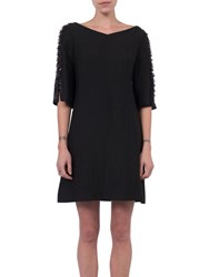 French Connection Dominica Cluster Sleeve Dress Black