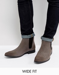 Asos Wide Fit Chelsea Boots In Grey Faux Suede Grey