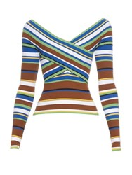 Msgm Striped Knit Long Sleeved Top Green Multi