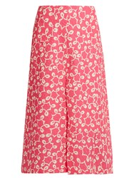 Duro Olowu Ivy Abstract Print A Line Cloque Midi Skirt Pink White