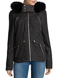 Spyder Coyote Fur Trimmed Hooded Jacket Black