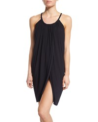 Magicsuit Draped Front Sleeveless Coverup Dress Black