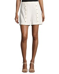 Haute Hippie Pleated Snap Shorts White