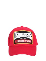 Dsquared Embroidery Cotton Gabardine Baseball Cap Red