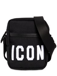 Dsquared Icon Embroidered Tech Crossbody Bag Black White