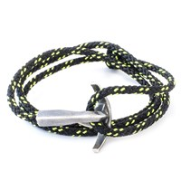 Anchor And Crew Bruce Rope And Silver Bracelet Solid Black