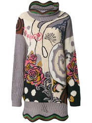Kansai Yamamoto Vintage Floral Embroidered Knitted Jumper Multicolour