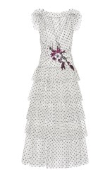 Rodarte Flocked Tulle Ruffle Dress White