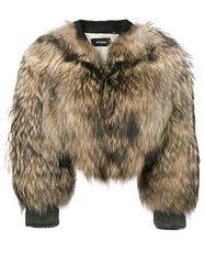 Dsquared2 Racoon Fur Bomber Jacket Brown